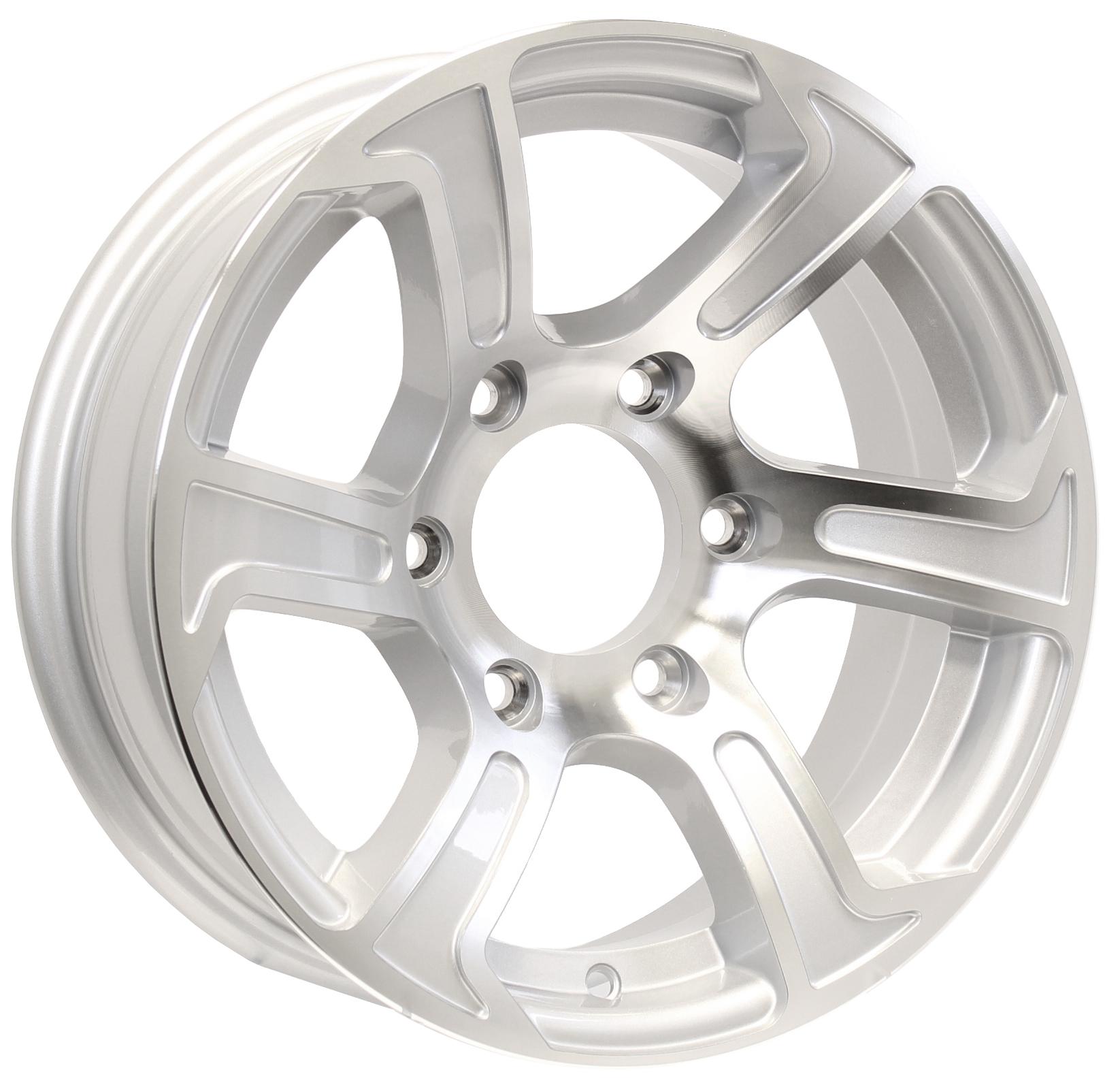 "Summit 15"" 6-Lug Silver Aluminum Trailer Wheel Image"