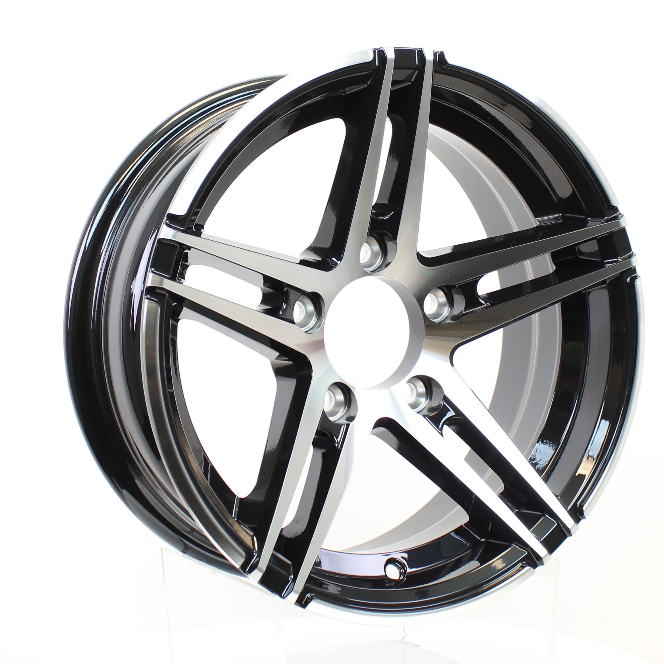 Sidewinder 13x5 5-4.5 Black/Machine Aluminum Trailer Wheel Image