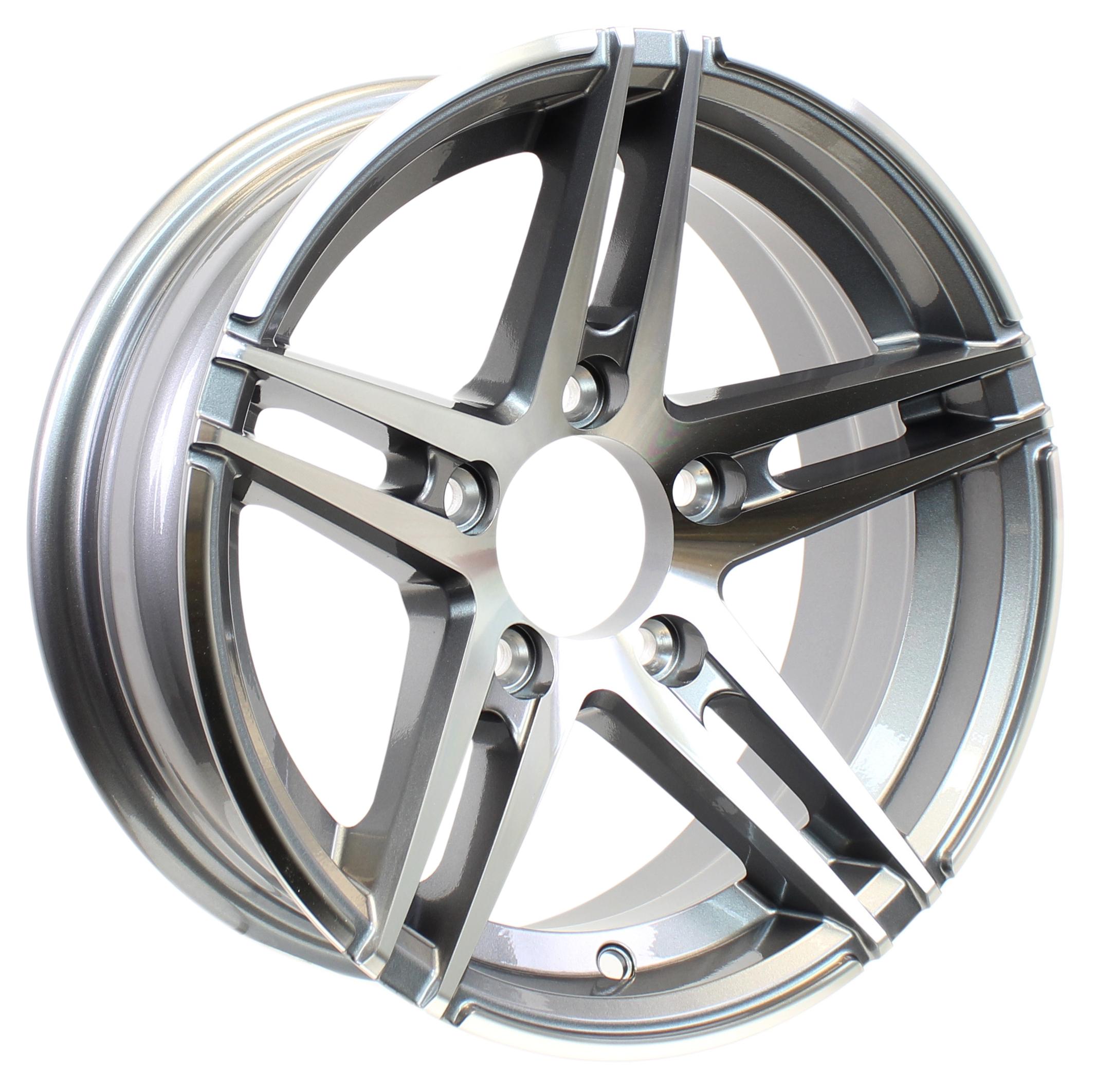 Sidewinder 14x5.5 5-4.5 Gun Metal Aluminum Trailer Wheel Image