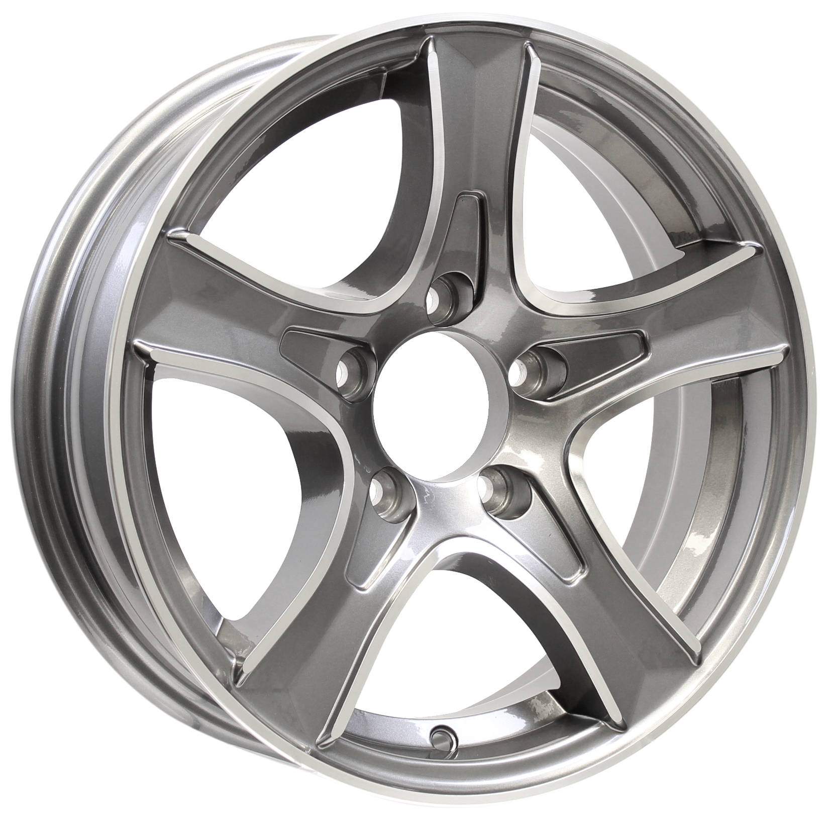 Thoroughbred- 15x5 5-4.5 Gun Metal Aluminum Trailer Wheel Image