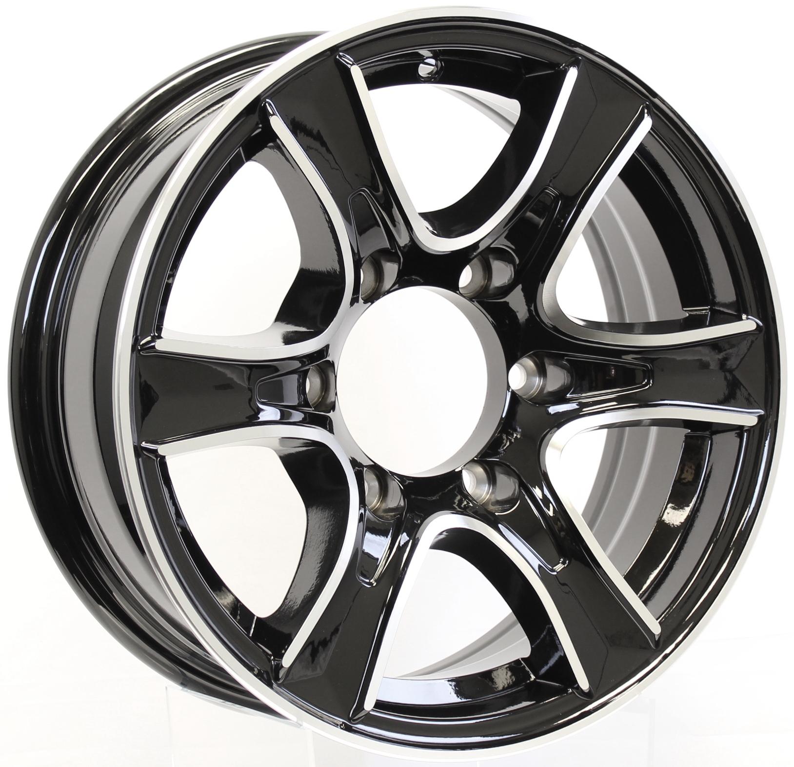 Thoroughbred- 15x6 6-Lug Black Aluminum Trailer Wheel Image