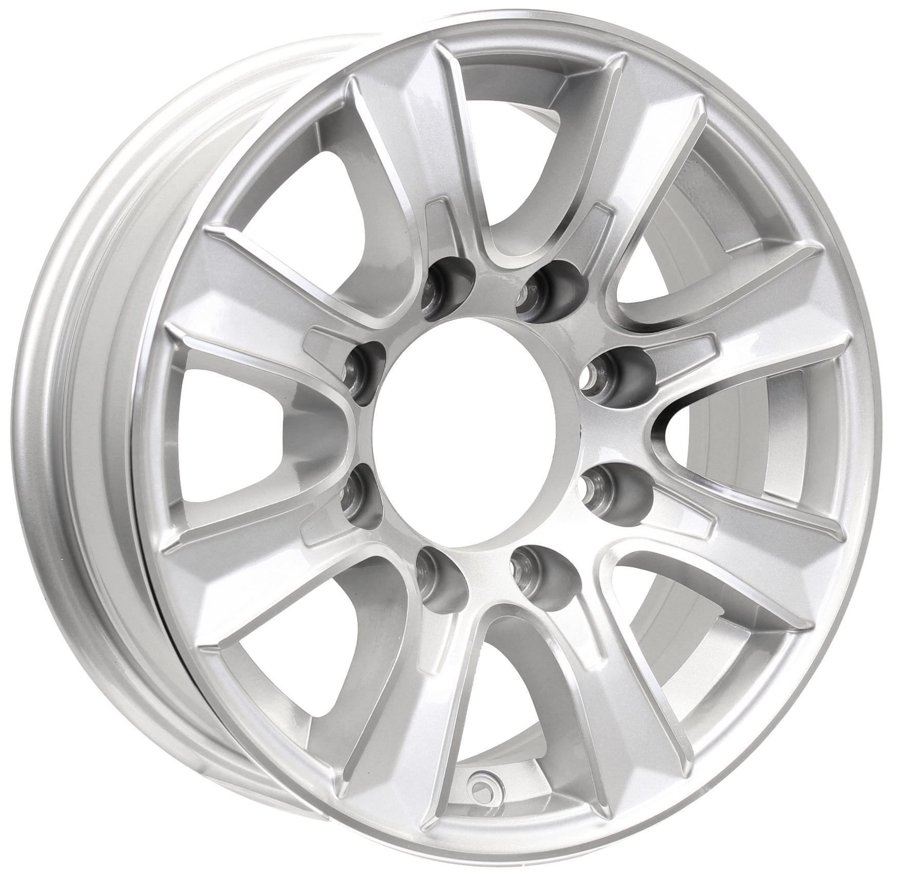 Thoroughbred 16x6; 8-Lug Silver Aluminum Trailer Wheel Image