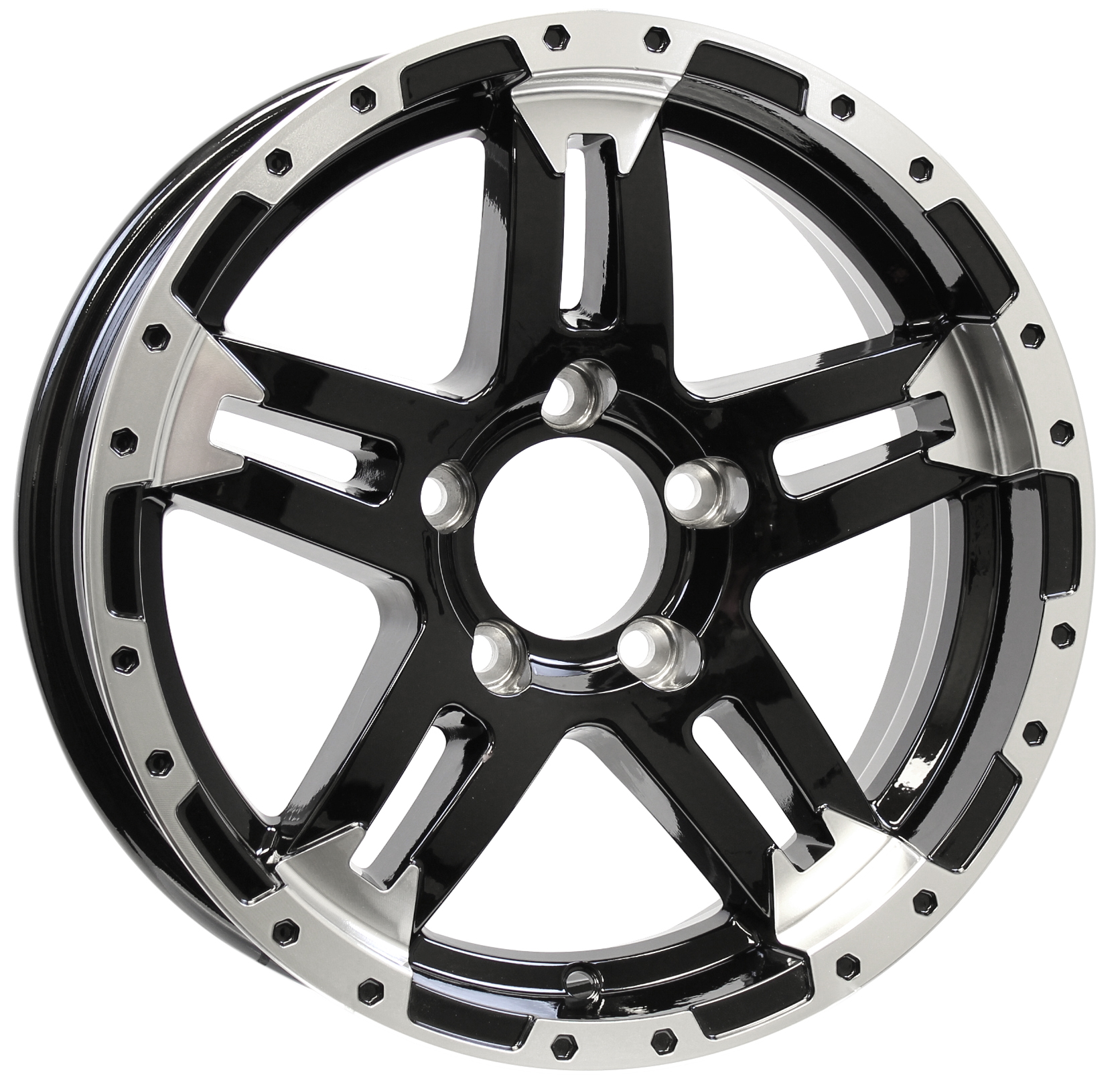 Turismo- 15x5 5-4.5 Black Aluminum Trailer Wheel Image