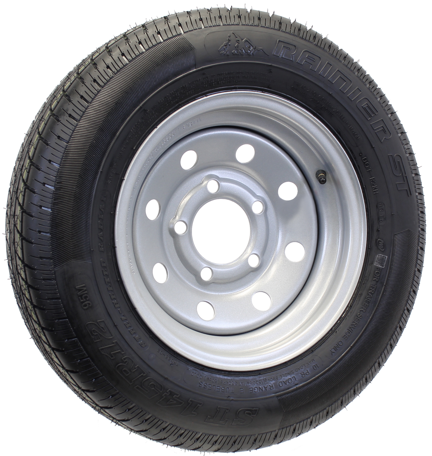 Rainier ST145R12E Radial Tire on 12X4 5-4.5 Silver Mod .50 Offset HD Image