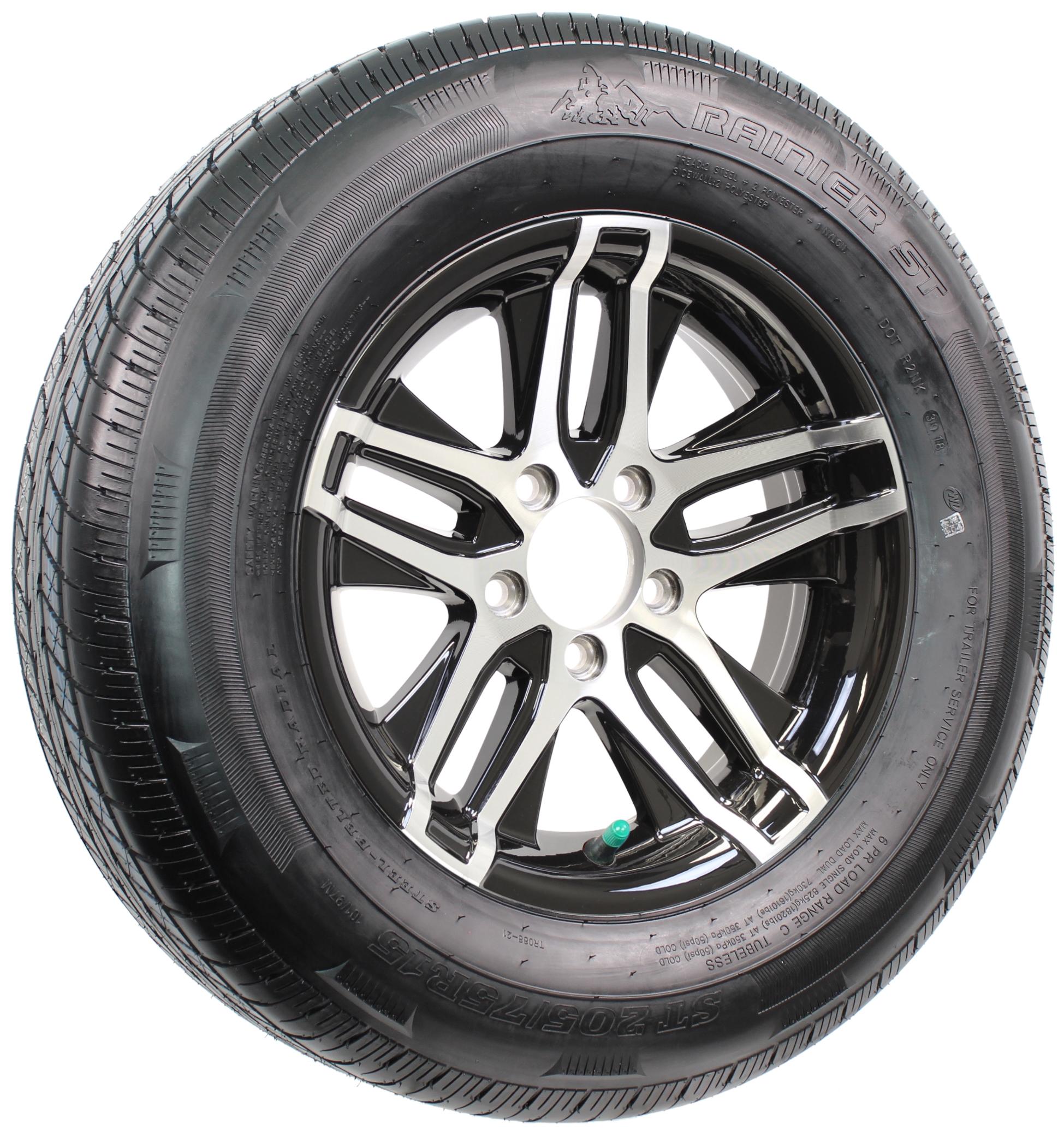Rainier ST205/75R15 LRD Radial Tire on Altitude 15x5 5-4.5 Black/Machine Aluminum Wheel Image