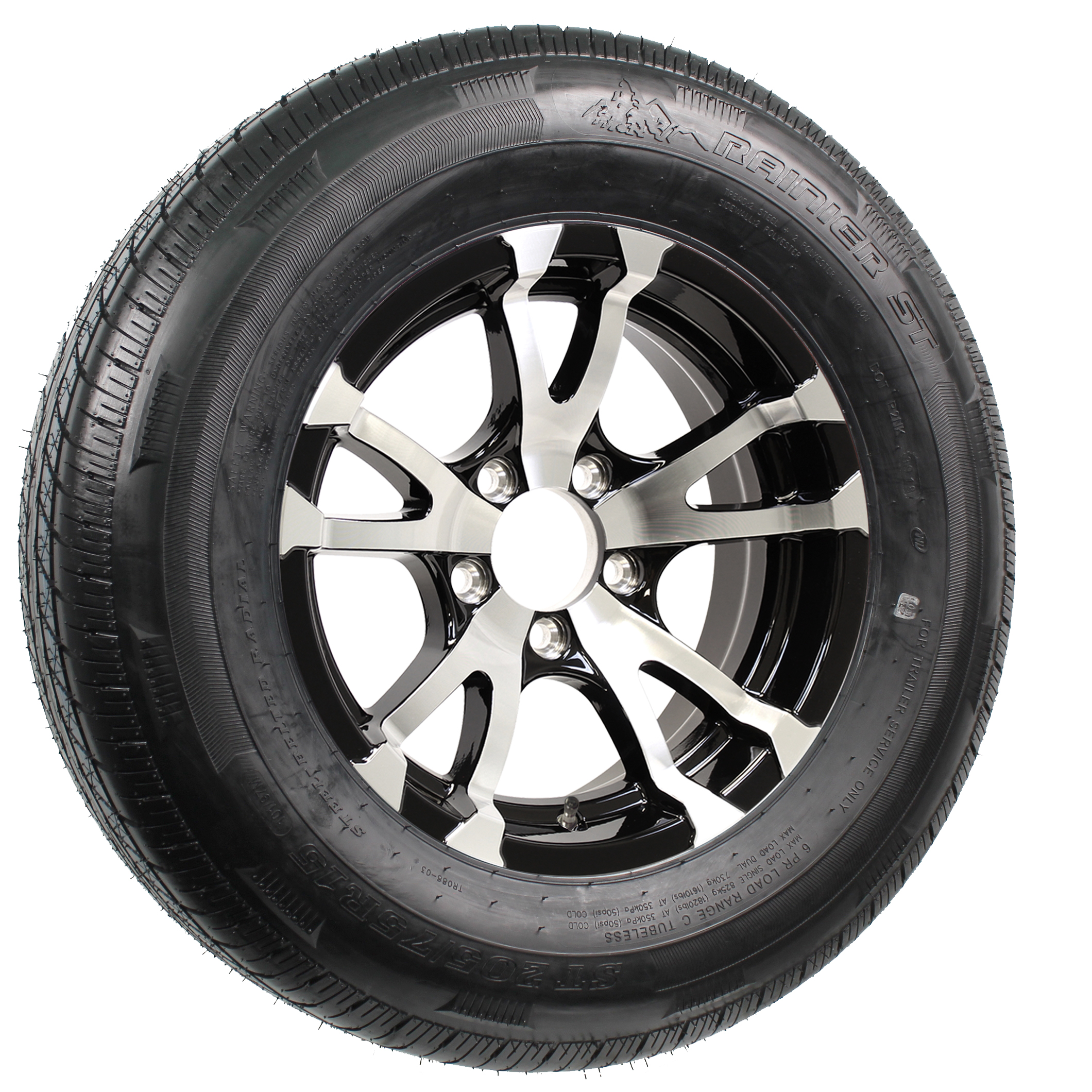 "Rainier ST205/75R15 LRD Radial Tire on 15"" 5-Lug Avalanche Black Aluminum Assembly Image"
