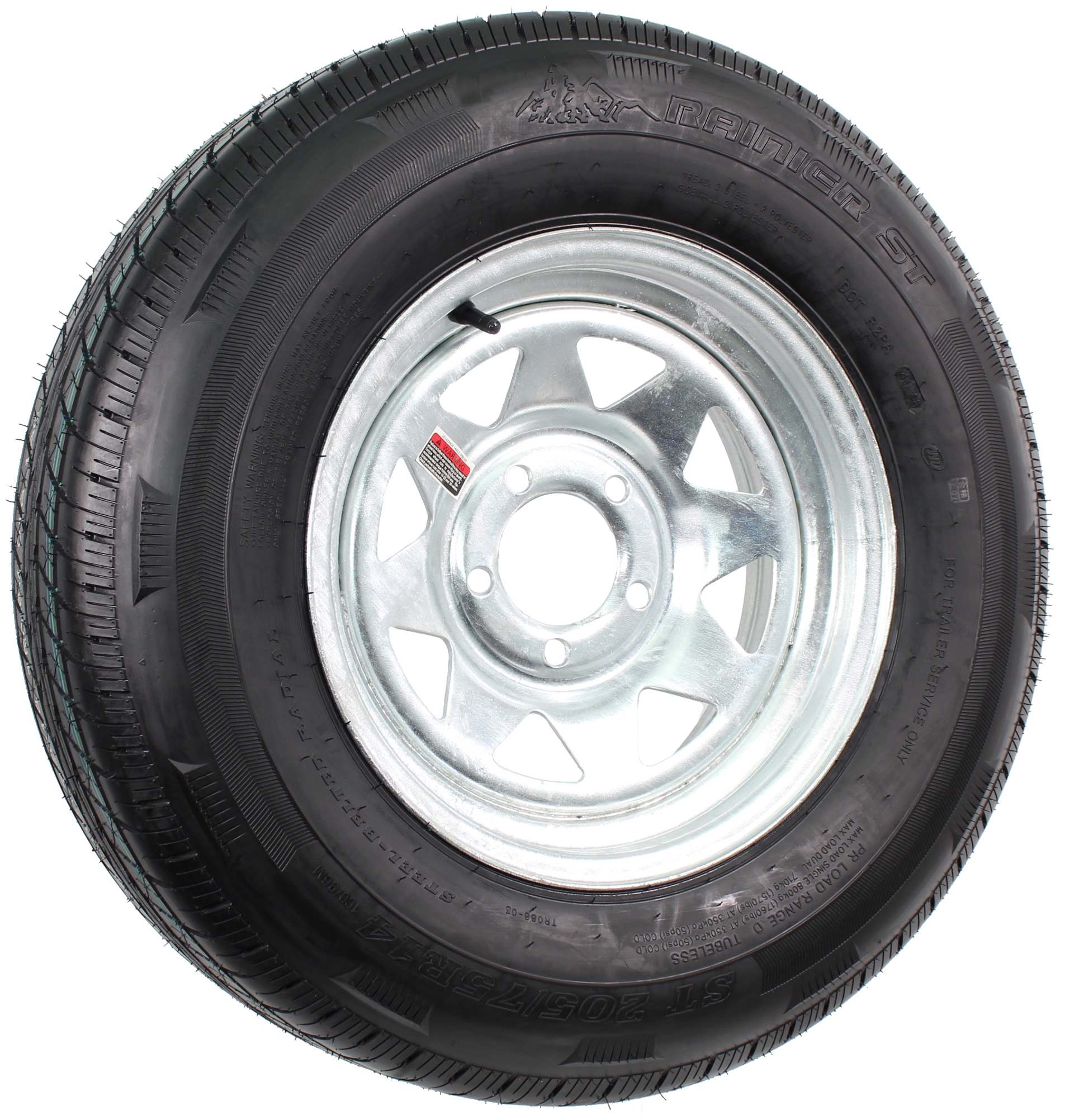 "Rainier ST205/75R14 LRD Radial on 14"" 5-Lug Galvanized Spoke Assembly Image"