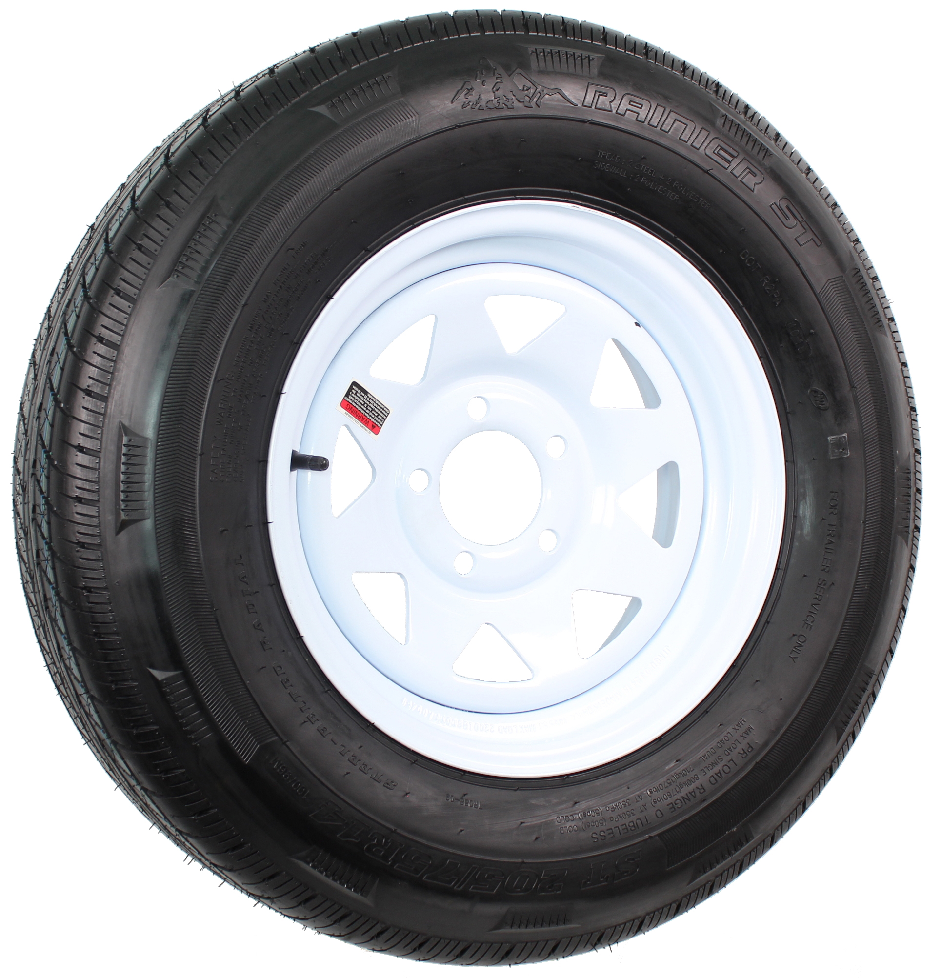 "Rainier ST205/75R14 LRD Radial on 14"" 5-Lug White Spoke Assembly Image"