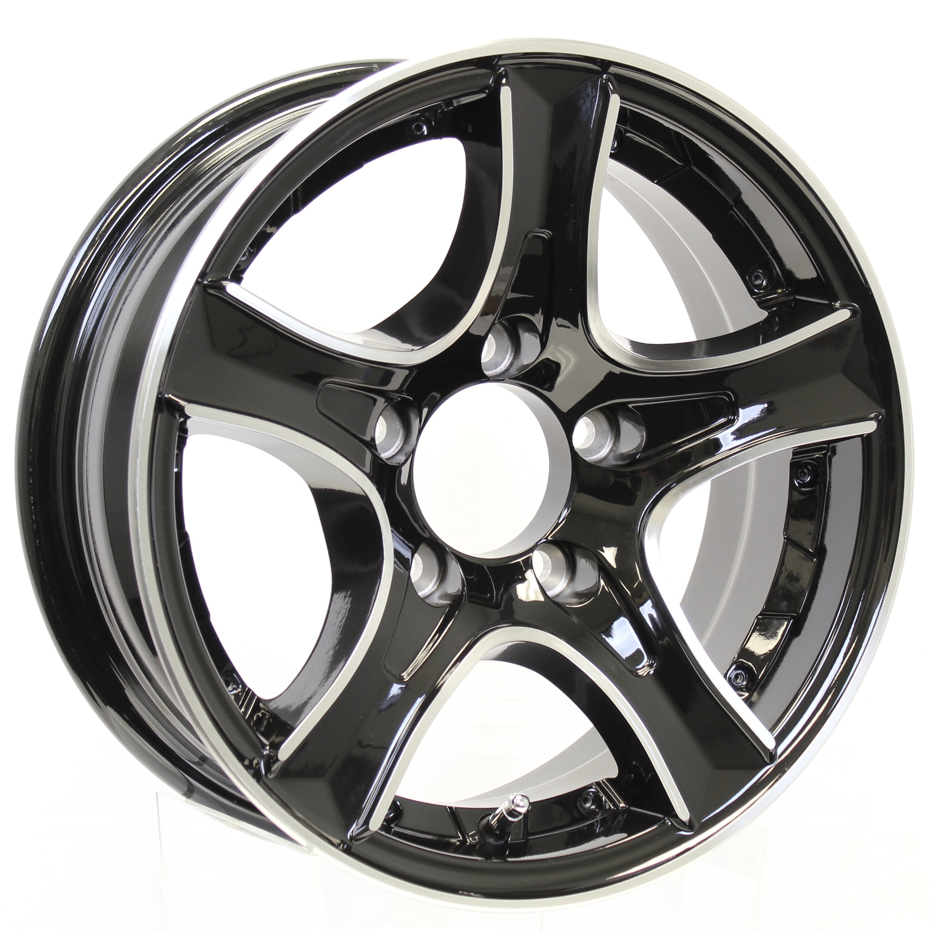 Thoroughbred 14x5.5 5-Lug Black Aluminum Trailer Wheel with Chrome Inserts Image