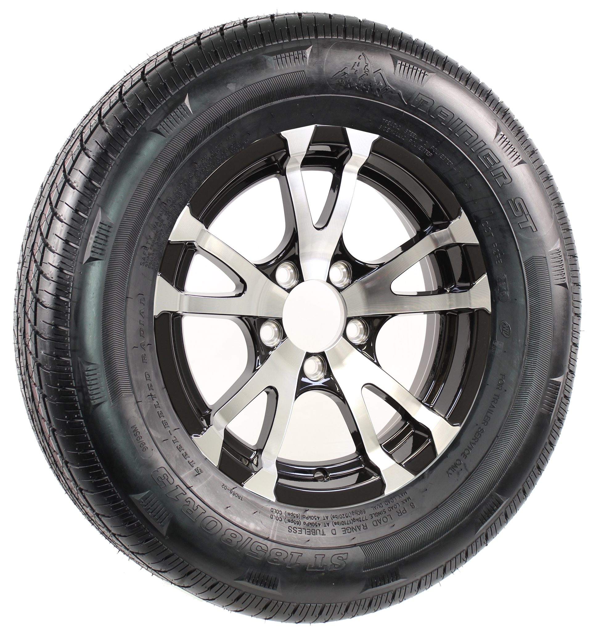 "Rainier ST185/80R13 LRD Radial on 13"" 5-Lug Avalanche Assembly Image"