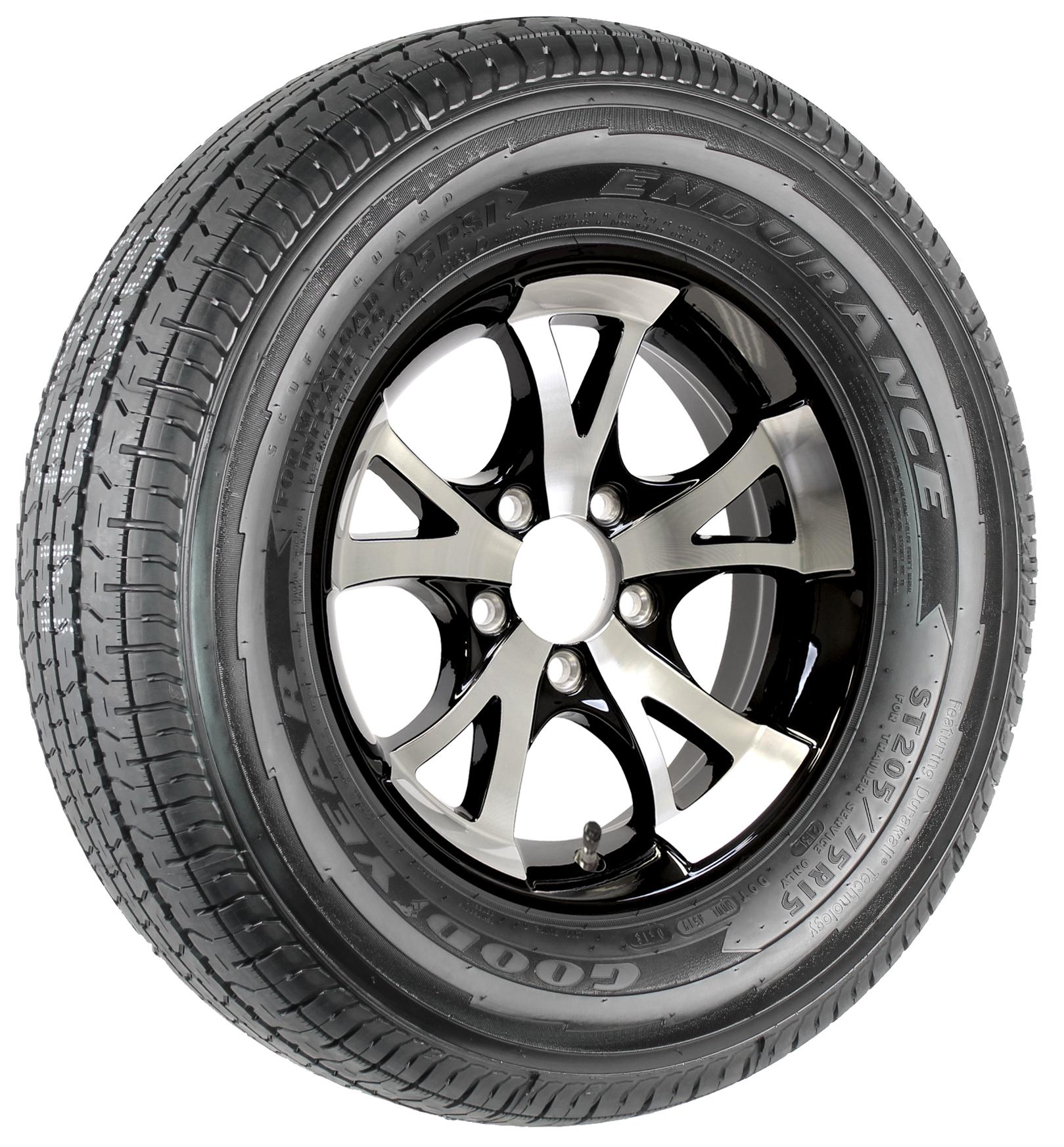 "Goodyear Endurance ST205/75R15 LRD Radial Tire on 15"" 5-Lug A1411 Black Aluminum Assembly Image"