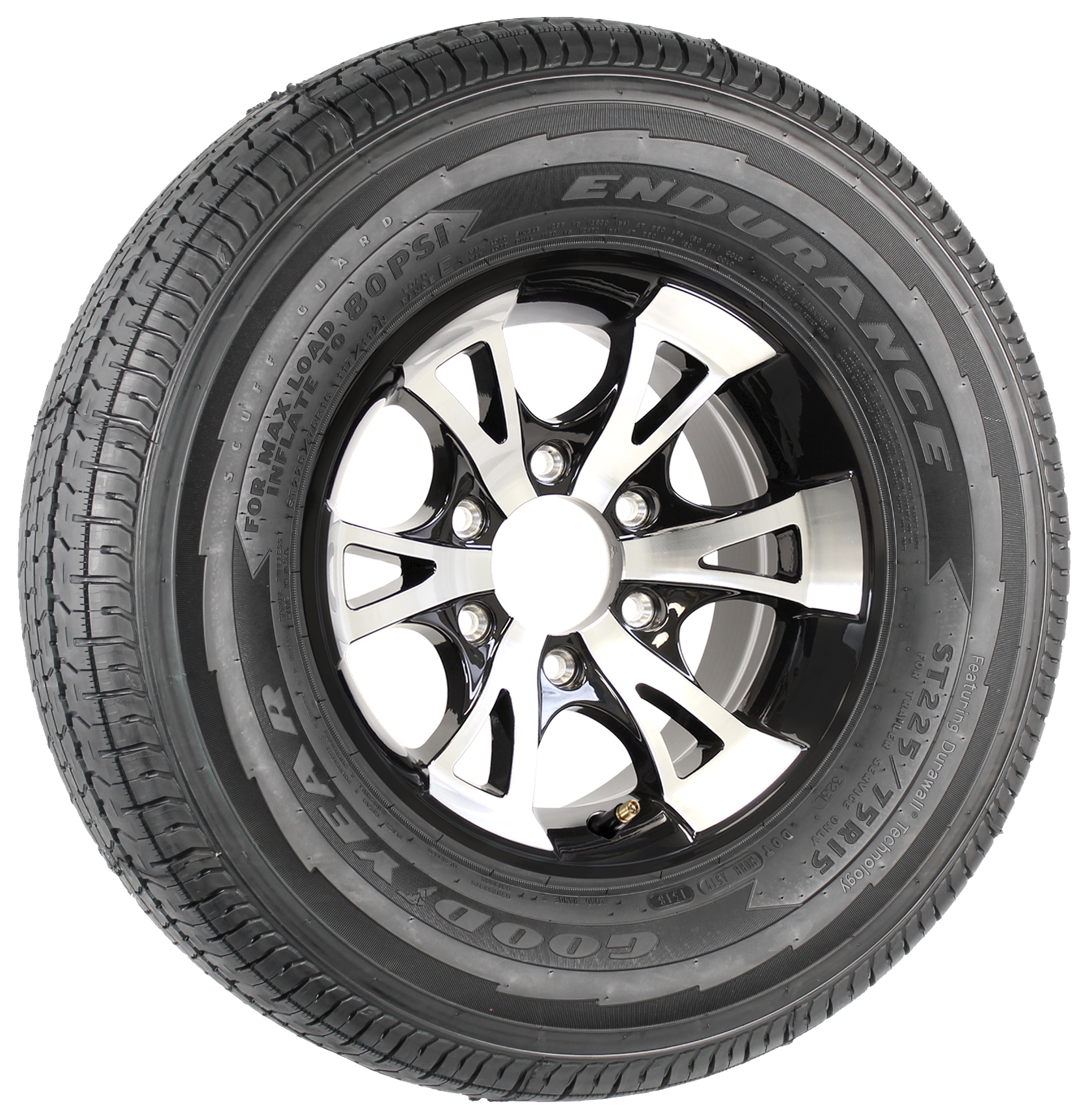 """Goodyear Endurance ST225/75R15 LRE Radial Tire on 15"""" 6-Lug A1411 Black Aluminum Assembly Image"""