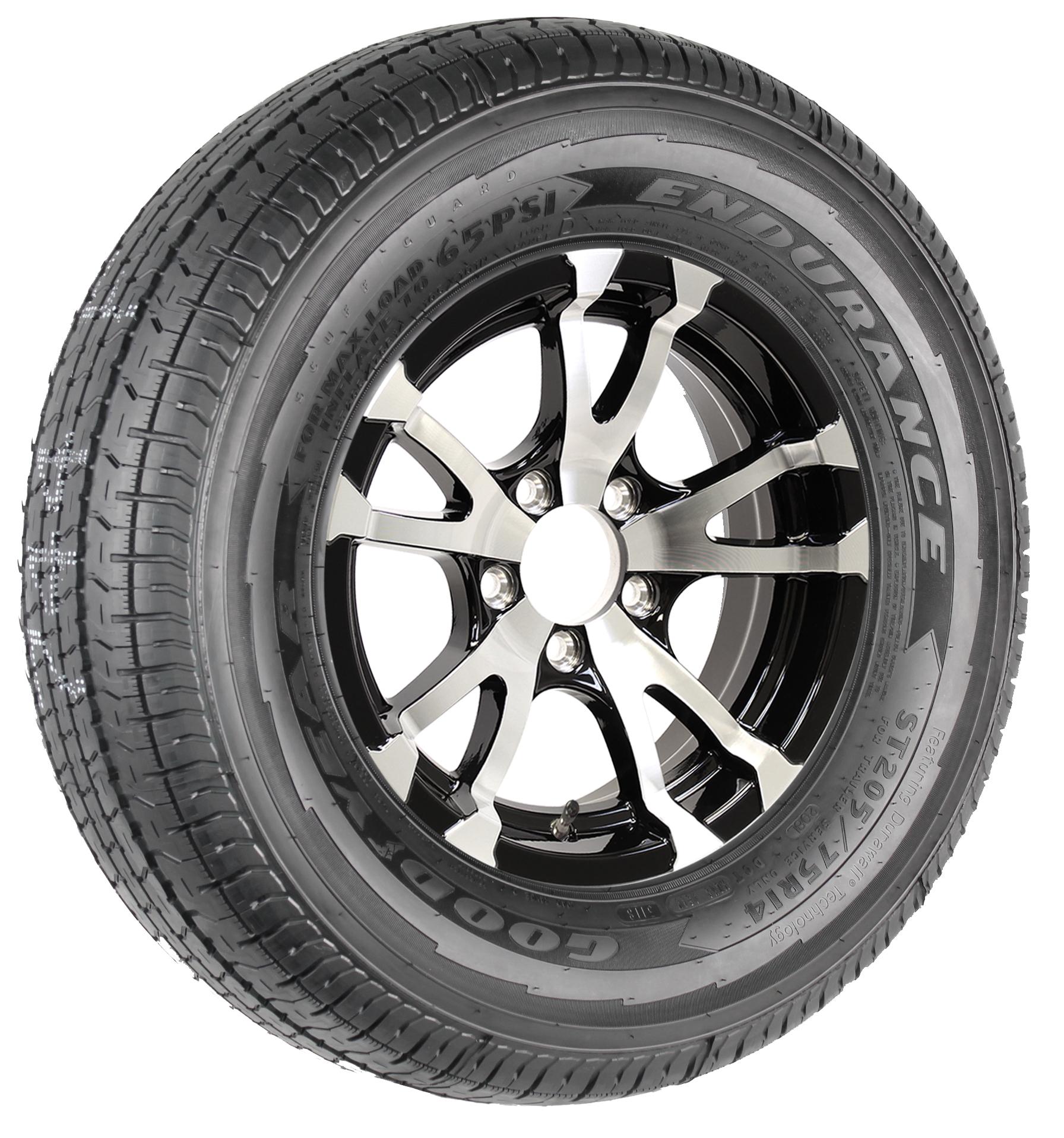 "Goodyear Endurance ST205/75R14 LRD Radial Tire on 14"" 5-Lug Avalanche Black Aluminum Assembly Image"