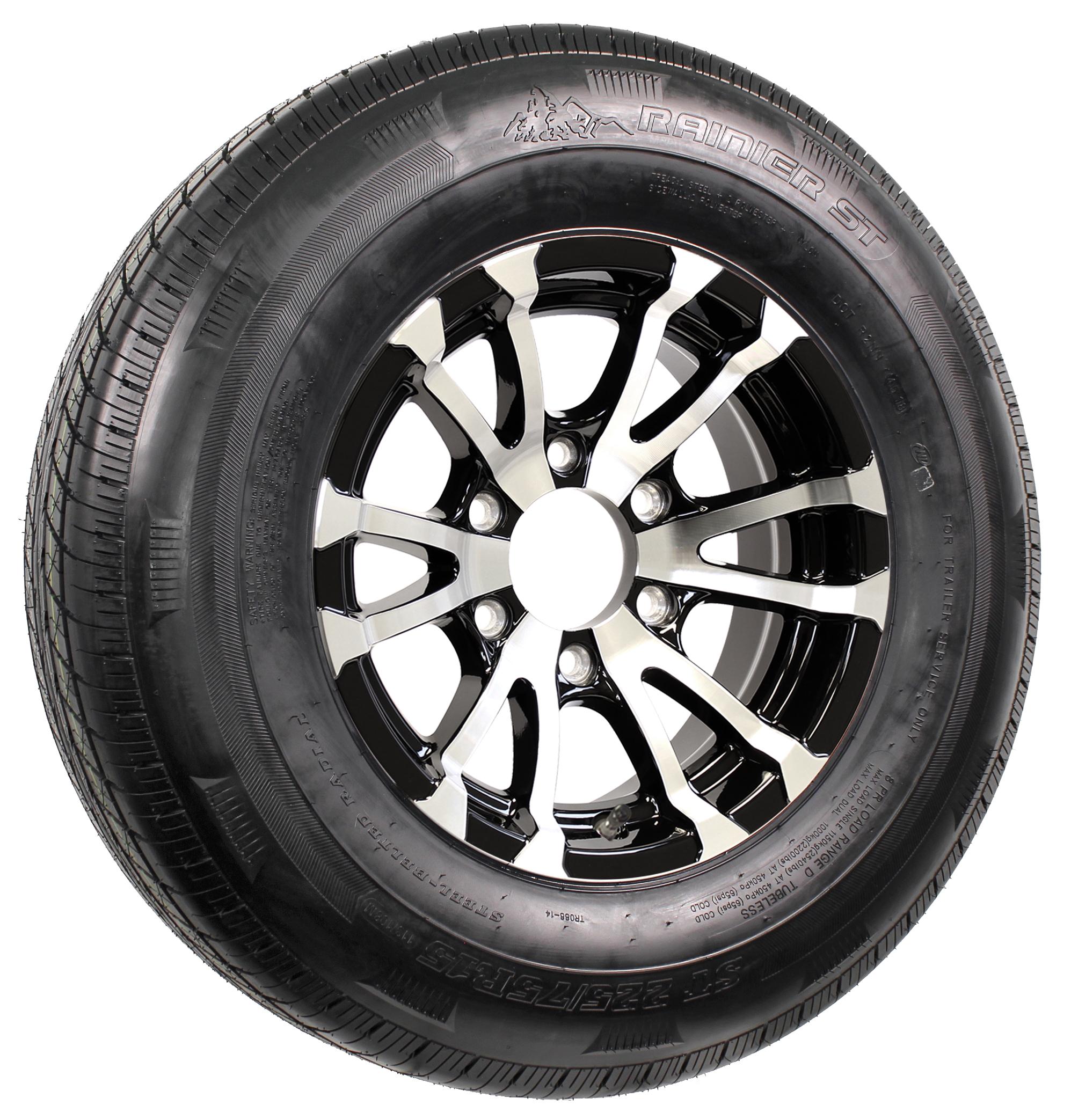 "Rainier ST225/75R15 LRE Radial Tire on 15"" 6-Lug Avalanche Black Aluminum Assembly Image"