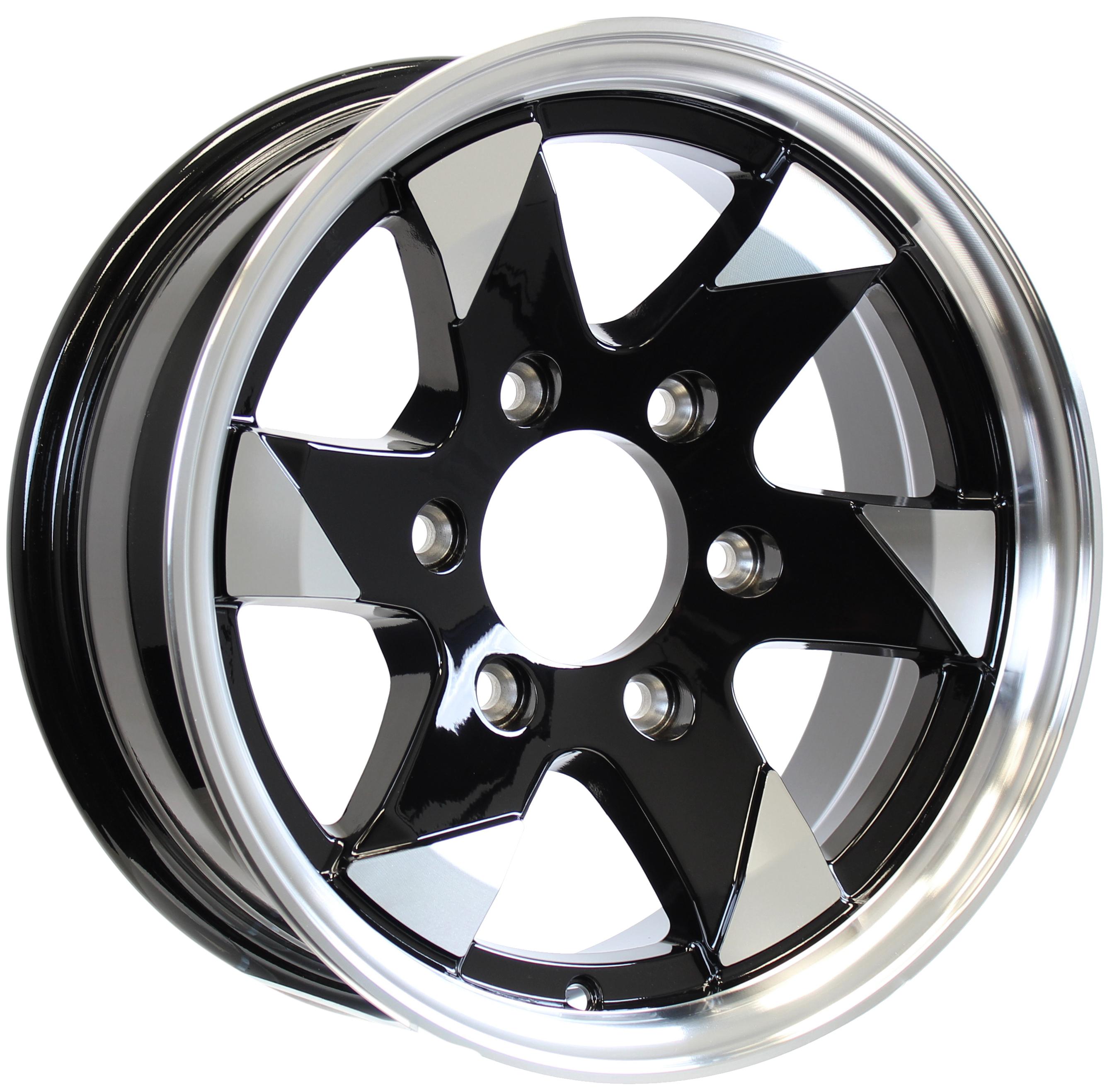 Ascent- 15x6 6-5.5 Black Aluminum Trailer Wheel Image