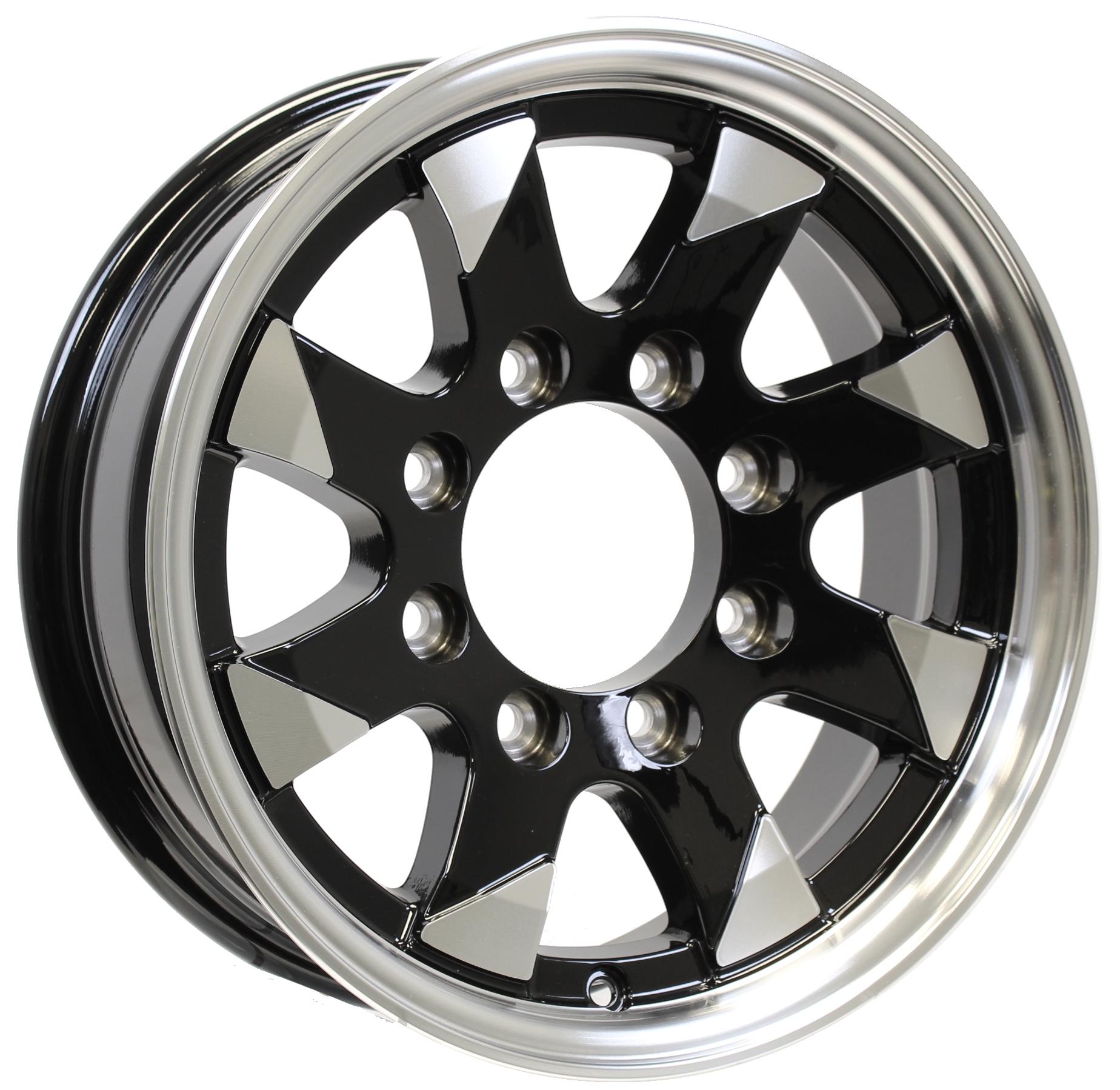 Ascent- 16x6 8-6.5 Black Aluminum Trailer Wheel Image