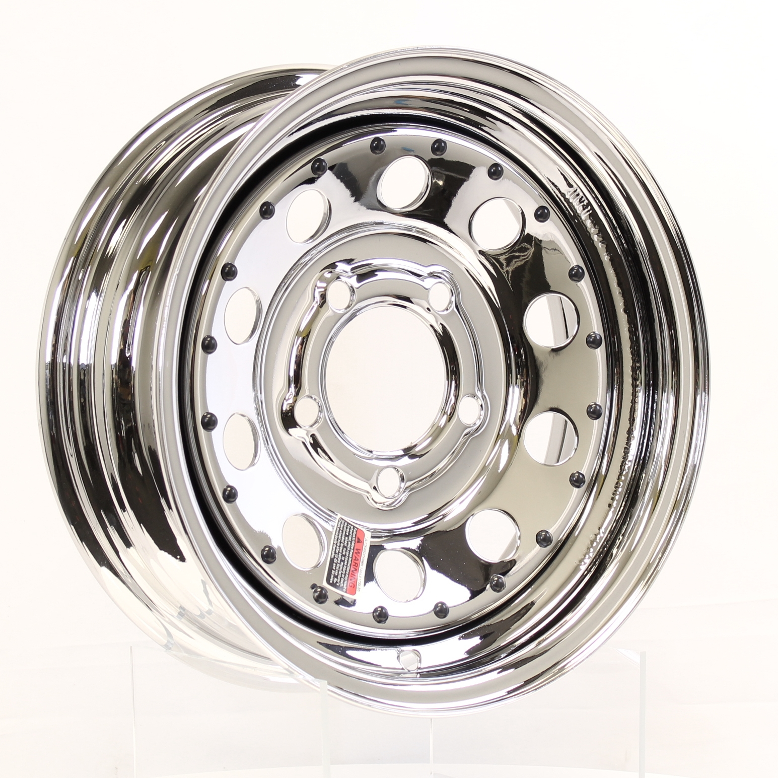 14x5.5 5-Lug Chrome Mod Steel Trailer Wheel w/Rivits Image