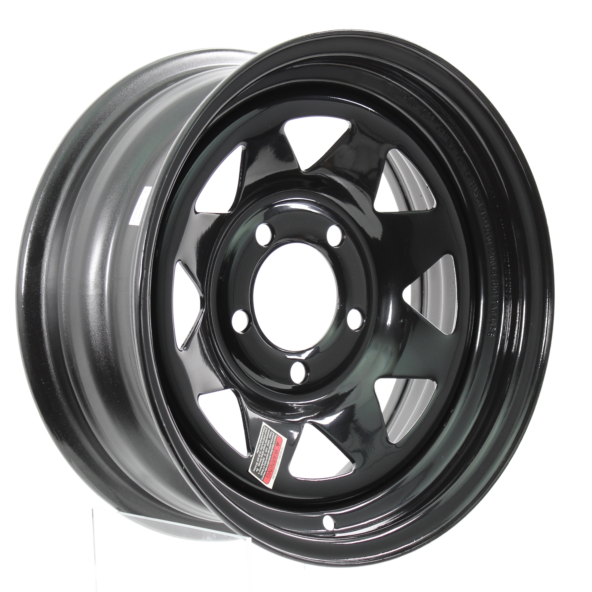 14x5.5 5-4.5 Black Spoke Steel Trailer Wheel Image