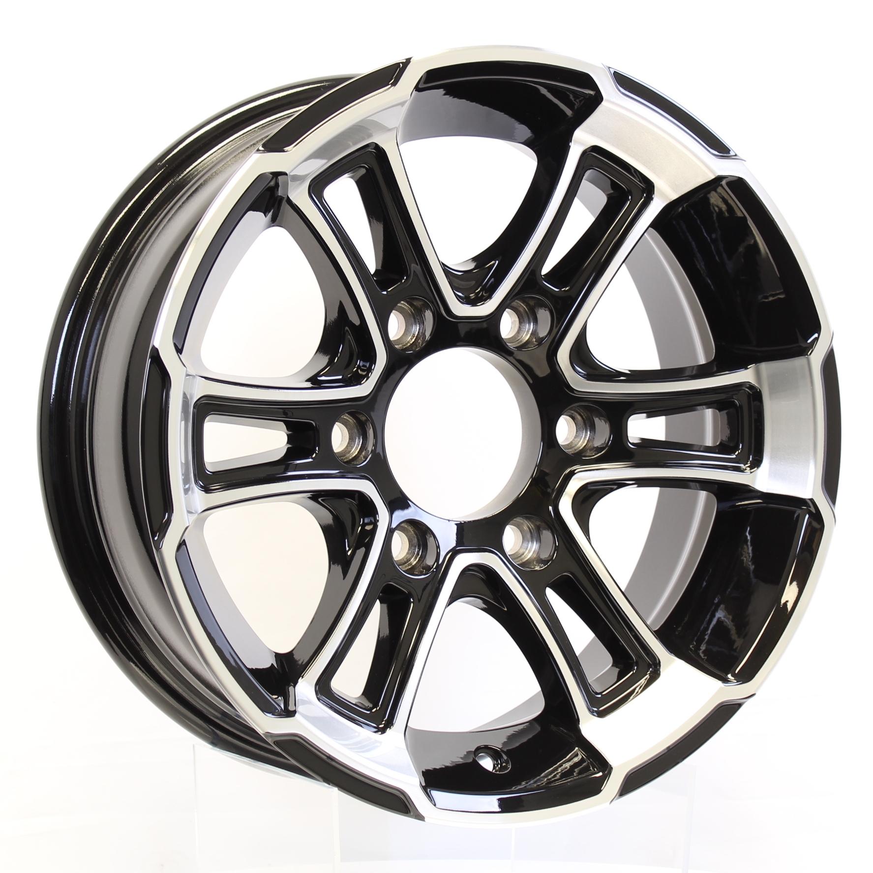 Whitehawk 15x6 6-5.5 Black Aluminum Trailer Wheel Image