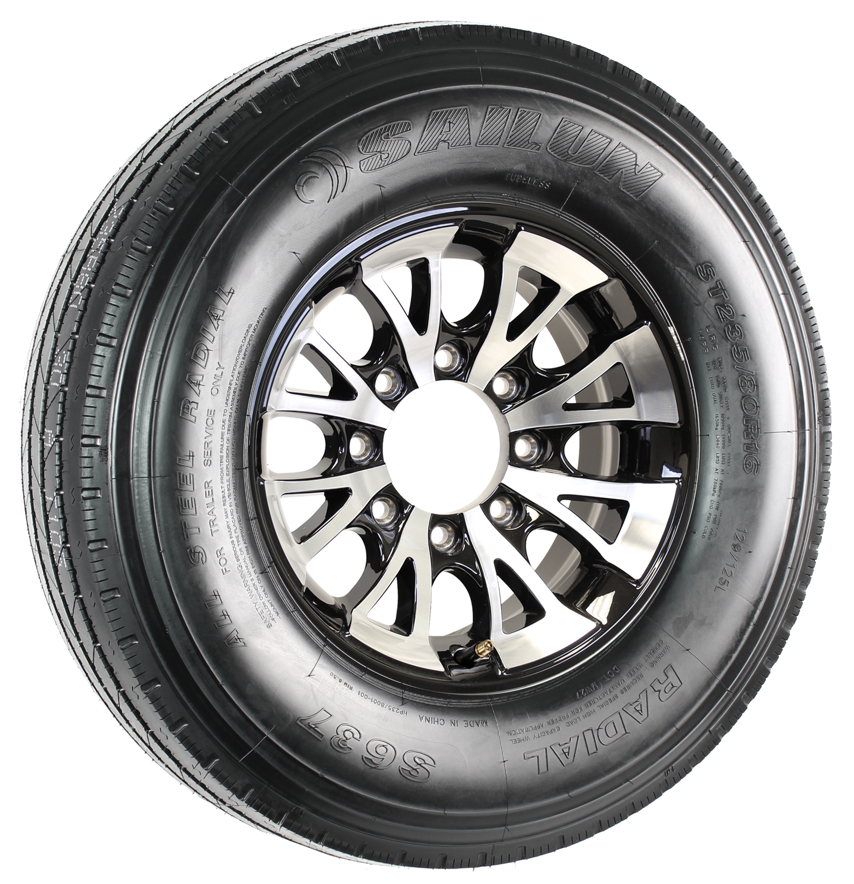 "Sailun ST235/80R16 LRG Radial Tire on 16"" 8-Lug A1411 Black Aluminum Assembly Image"