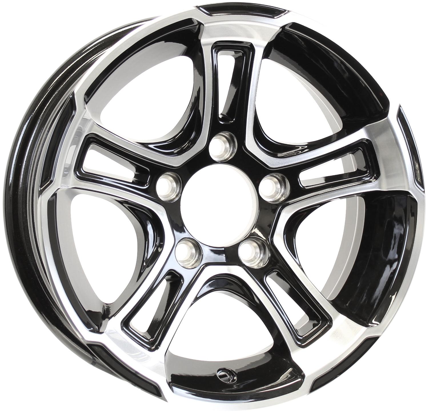Whitehawk 14x5.5 5-4.5 Black/Machine Aluminum Trailer Wheel Image