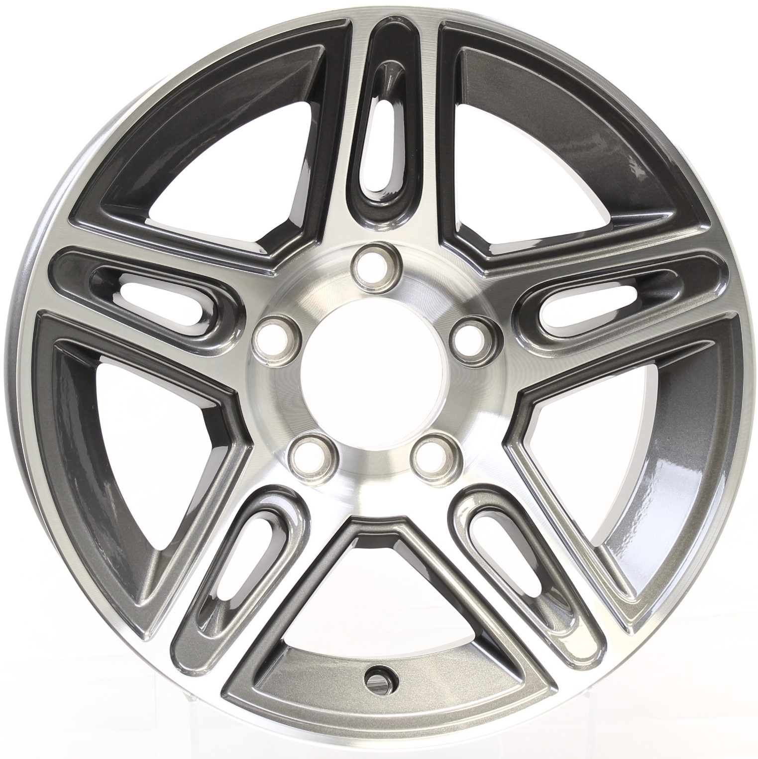 Pinnacle- 13x5 5-4.5 Gunmetal Aluminum Trailer Wheel Image