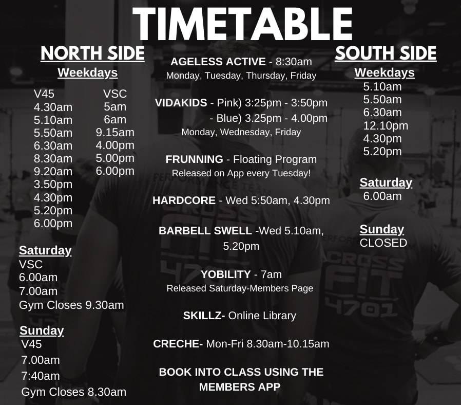 Interim Timetable VidaFit