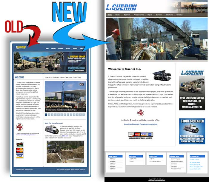 Before and After images of guerini website design