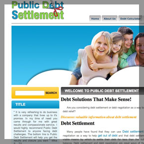 Debtsettlement company website by affordable web design and seo company