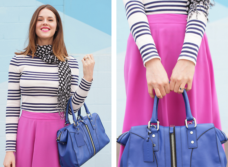 What I Wore: Perfect Pairing, Jessica Quirk, whatiwore.tumblr.com, Stripes, Polka Dots, Pink, Nude, Cobalt, Blue, Spring Outfit