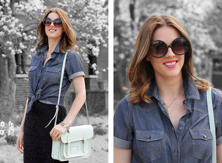 What I Wore: True Blue, Jessica Quirk, Short Sleeve Chambray and Lace