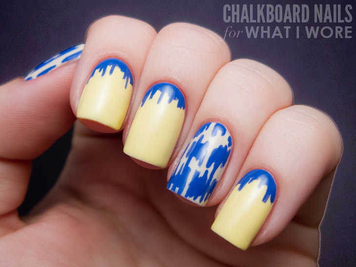 Chalkboard Nails for What I Wore, Ikat Manicure, Nail Art Tutorial, whatiwore.tumblr.com, chalkboardnails.com