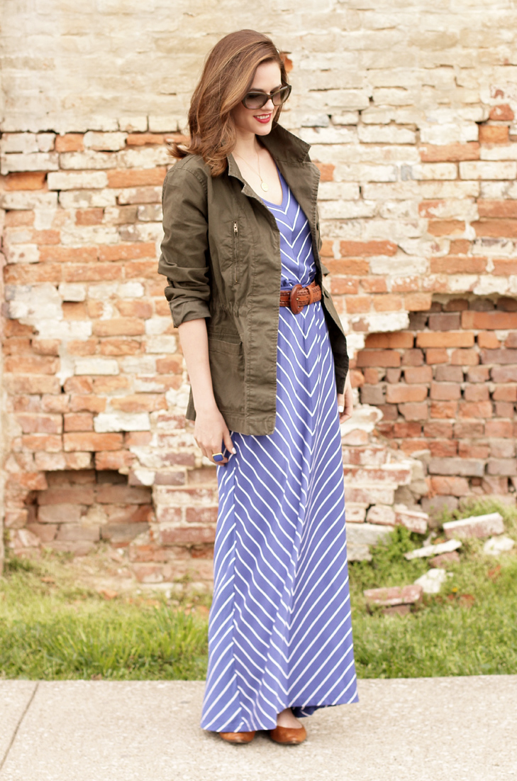 What I Wore: Easy Going, Jessica Quirk, whatiwore.tumblr.com, Maxi Dress, Army Jacket