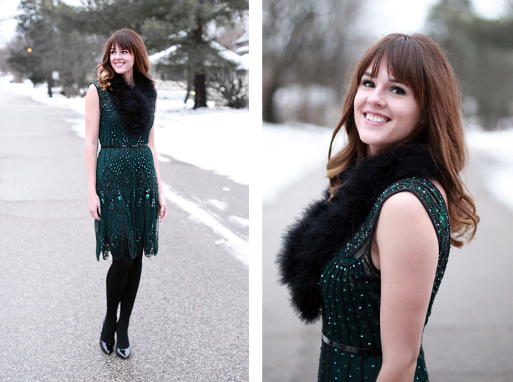 What I Wore | Holiday Bliss, Jessica Quirk, Leluxe Vintage, whatiwore.tumblr.com, holiday dresses, winter dresses, how to style bangs, fur scafs, how to style fur scarfs, fur trend, chirstmas dress, winter dresses, how to glam up a christmas dress, what to wear to a holiday party, holiday cocktail dress, winter cocktail dresses