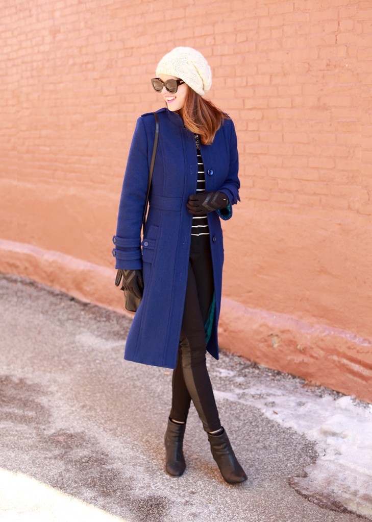 What I Wore | Blue Christmas, Jessica Quirk, Simplicity 2057, whatiwore.tumblr.com, #fashionblogger, cobalt coat, cobalt winter, winter coat, fashionable winter coats, stripes and cobalt, cobalt and leather, how to wear cobalt blue, DIY, DIY hats, DIY beanies, beanie trend, winter trends