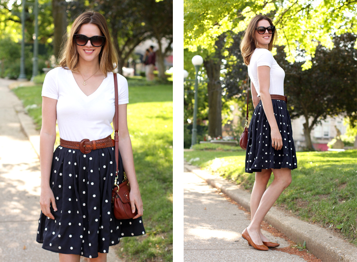 What I Wore: City Streets, Jessica Quirk, Navy Polka Dots, whatiwore.tumblr.com