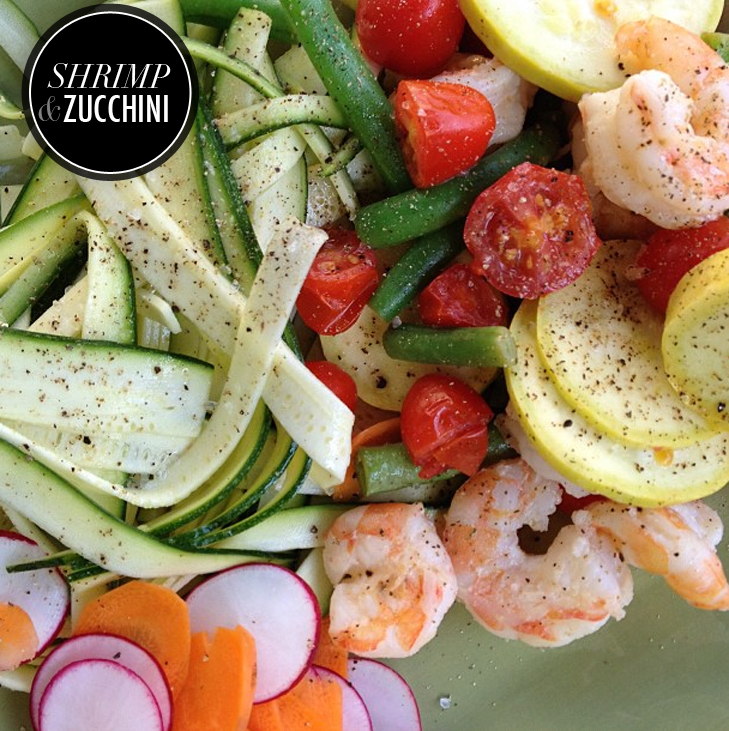 Paleo Shrimp and Zucchini with Fresh Veggies, Paleo, Jessica Quirk, whatiwore.tumblr.com