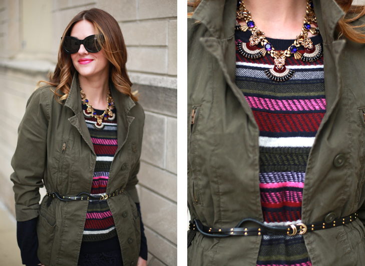 army jacket style, how to style an army jacket, j crew style, how to glam up hunter green, ombre hair, jessica quirk style, how to wear pink lipstick, fall wardrobe colors, how to bring color into your wardrobe, best midwest fashion blogger, best fashion blogger, what I wore, what I wore rewind