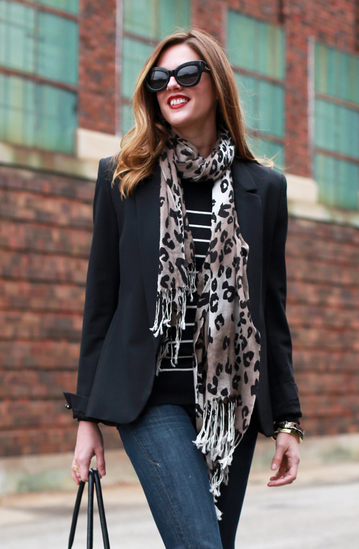 how to wear a black blazer, how to dress down a blazer, leopard accessories, how to wear a leopard scarf, leopard scarf, leopard trend, leopard and gold, business casual, karen walker, jessica quirk, what I wore, best fashion blogger, how to dress for less, bloomington indiana, work outfit