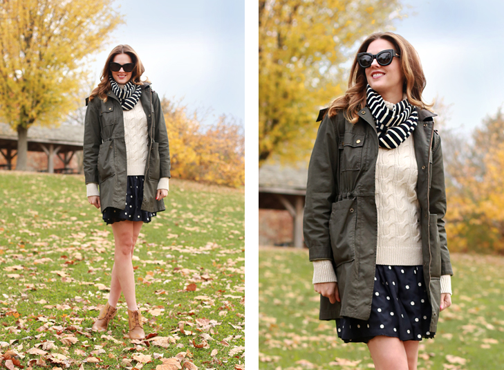 What I Wore   Dark & Story, Jessica Quirk, @JessicaQuirk, whatiwore.tumblr.com, Fall Outfit, how to dress for warm fall weather, army jacket, how to accessorize an army jacket, matching polka dots and stripes, how to glam up brown booties, ombre hair, fall weather outfit, perfect fall wardrobe, november style, best fashion blogger, top fashion blogger, midwest style,