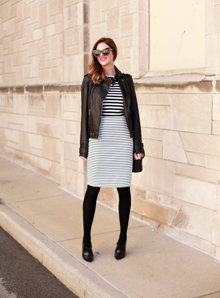 What I Wore | Stripe on Stripe, Jessica Quirk, Black and White, Combining Stripes, whatiwore.tumblr.com, how to wear stripes, how to match stripes, how to wear leather, leather and stripes, how to rock a skirt in november, pairing a skirt and tights, bauble bar, bauble bar style, how to rock a red lip, coach handbag, how to wear coach handbag, ombre hair, jessica quirk style, jessica quirk