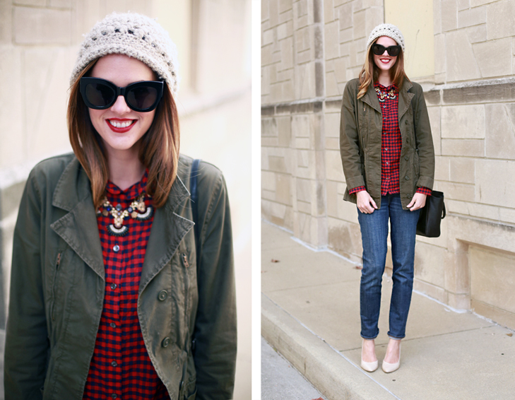 What I Wore | Laid Back Holiday, Thanksgiving Outfit, Jessica Quirk, whatiwore.tumblr.com, holiday style, holiday looks, beanie inspiration, how to wear a beanie, beanie trend, how to rock a beanie, beanie style, army jacket, how to wear plaid, matching plaid and an army jacket, nude pumps, boyfriend jeans, top fashion blogger