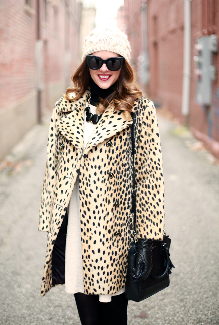 What I Wore | Newly Knit, Cheetah Coat, Beanie, @JessicaQuirk, whatiwore.tumblr.com, DIY, DIY hat, leopard coat, how to wear a leopard coat, glam up leopard, winter wardrobes, glam up your winter coat, winter style, coach bag, coach style, vintage booties, j crew style, j crew, jessica quirk style, bloomington style, bloomington indiana, karen walker