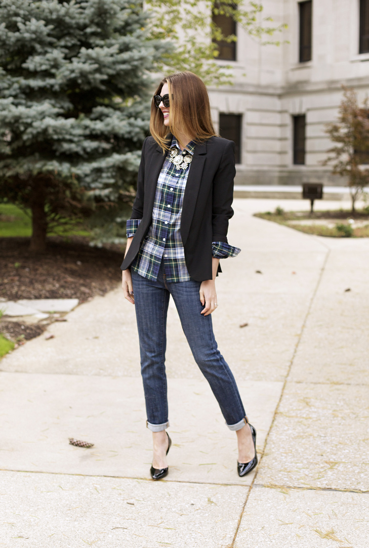 What I Wore | Glam Plaid, Jessica Quirk, How to wear a plaid shirt, whatiwore.tumblr.com, glam up a plaid shirt, pairing plaid with a blazer, how to wear boyfriend jeans, how to pair boyfriend jeans, best midwest fashion blogger, best fashion blogger, J. Crew Style, how to wear j. crew looks, casual business, casual friday outift, work outfit, jessica quirk