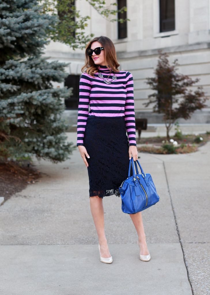 What I Wore | Make it Pop, Jessica Quirk, Cobalt, whatiwore.tumblr.com, how to wear stripes with a pencil skirt, pencil skirt, dressing up a pencil skirt, making stripes pop, making color pop in your wardrobe, midwest style, jessiq quirk style, how to wear cobalt, cobat bag, pairing cobalt with pinl
