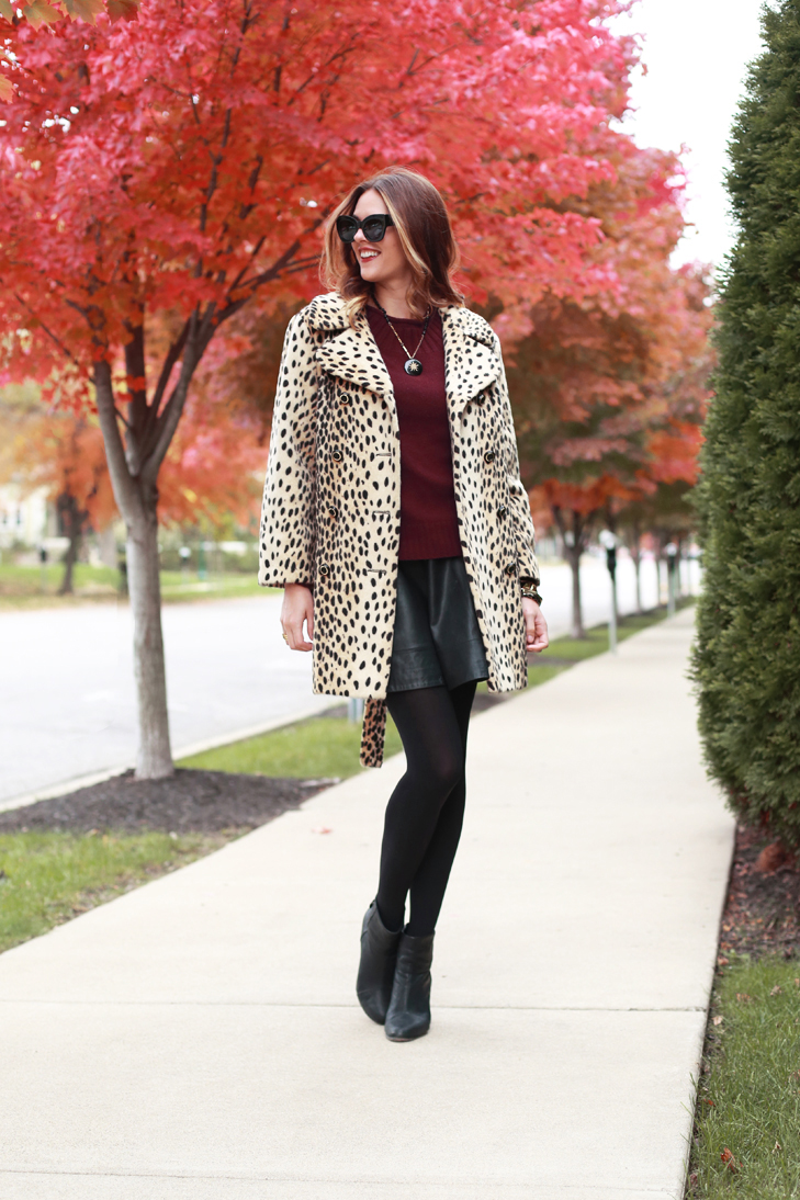 What I Wore | Two Point Oh, Jessica Quirk, whatiwore.tumblr.com, leopard coat, how to wear a leopard coat, leather and leopard, october style, fall wardrobe, fall scenary, how to dress in october, what I wore rewind, leopard accessories, black booties, how to wear burgundy, burgundy and leopard