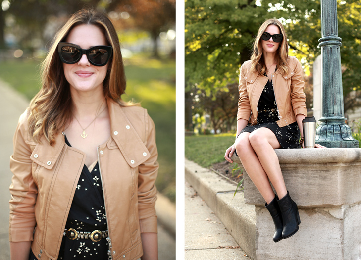 moto jacket, how to wear a moto jacket, how to style your moto jacket, business casual look, anchor necklace, black booties, how to wear tan moto, pairing tan and black, fall outfit idea, fall look