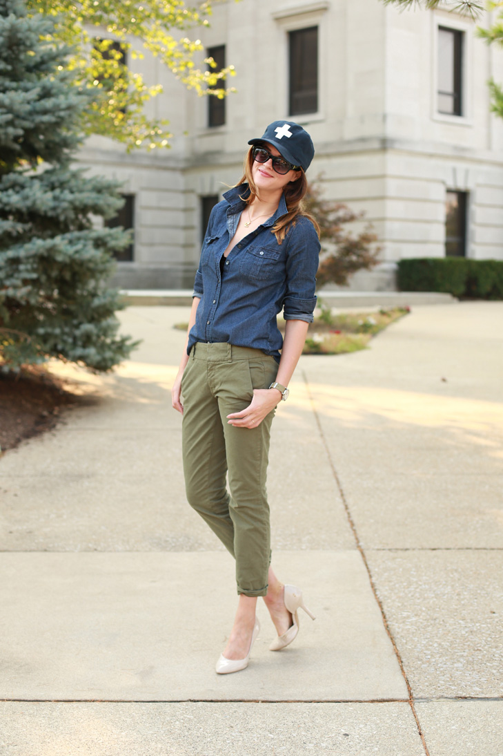 What I Wore | Uniformed, Jessica Quirk, whatiwore.tumblr.com, denim and hunter green, how to glam up a baseball cap, how to wear a baseball cap, make a baseball cap fashionable, running errands style, bloomington style, indiana university fashion, how to casual and put together, nude pumps, easy weekend look