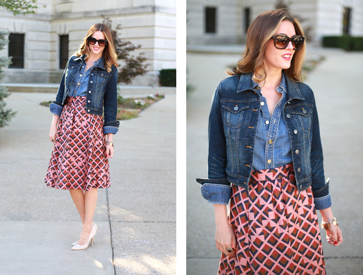 What I Wore | Vintage Revival, Denim on Denim, Jessica Quirk, whatiwore.tumblr.com, fall prints, tory burch, denim jackets, how to pair denim and pattern, fall style, how to glam up a denim jacket, midwest style