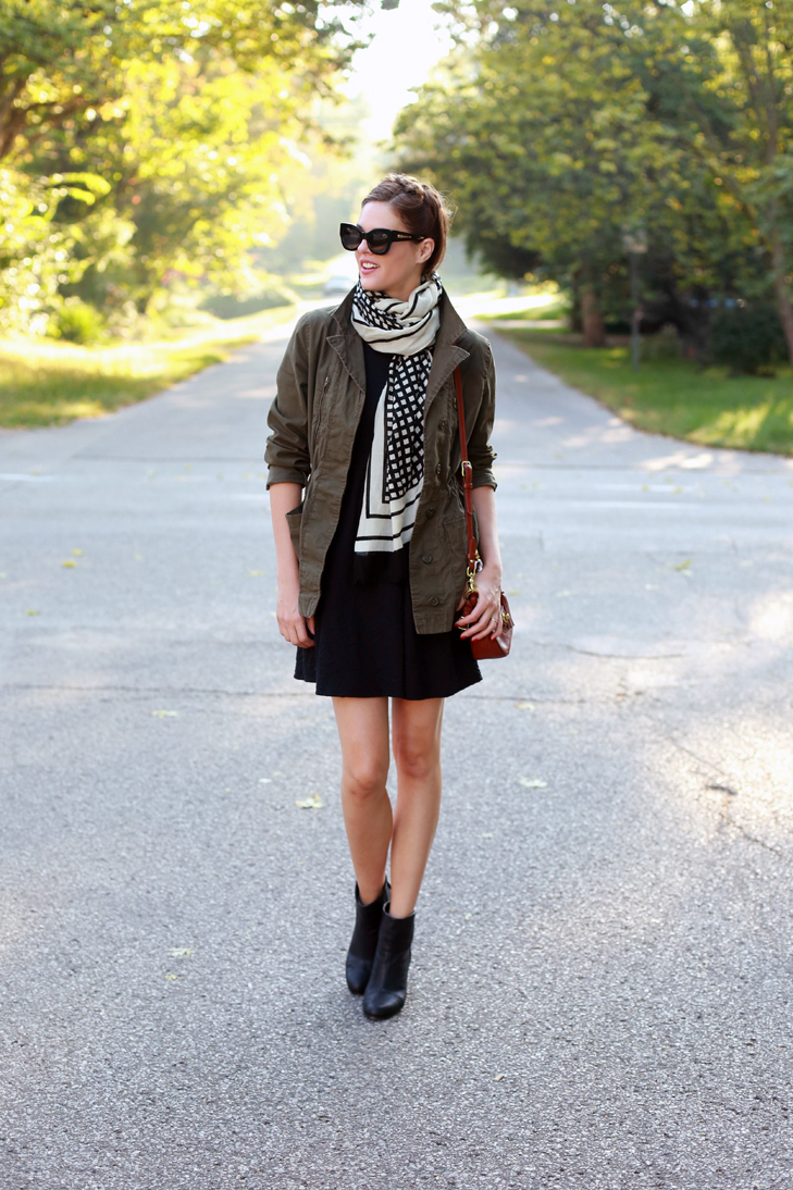 What I Wore | Weekend Wonder, Jessica Quirk, whatiwore.tumblr.com, casual weekend outift, weekend look, field jacket, how to dress down, black knit dress, army jacket, fall trends, best midwest blogger, how to incorporate fall trends, hair braid, easy fall look